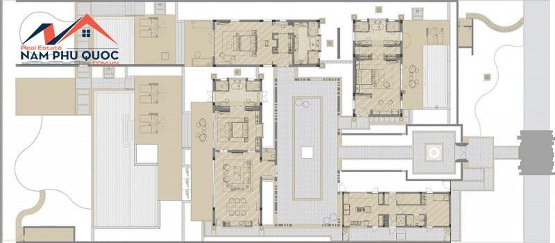 Mặt bằng điển hình biệt thự 3 phòng ngủ