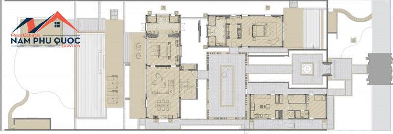 Mặt bằng điển hình biệt thự Hill View Villas 3 phòng ngủ tầng 1