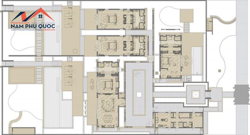 Mặt bằng điển hình biệt thự Hill View Villas 4 phòng ngủ