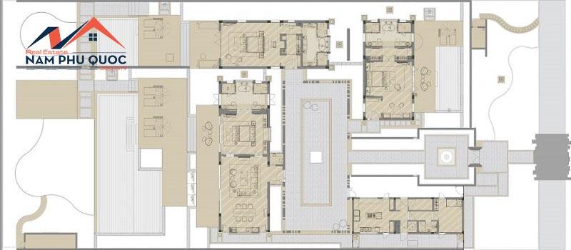 Mặt bằng điển hình mẫu biệt thự Lake View Villas 3 phòng ngủ