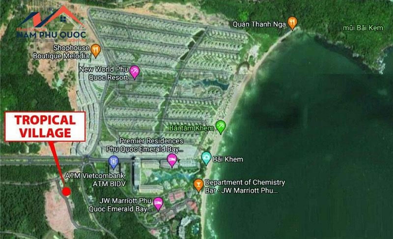 Vị trí dự án nằm ngay cạnh bãi Kem Phú Quốc
